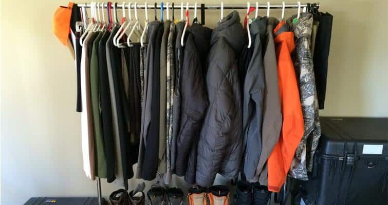 Closet with neatly arranged outdoor gear with camping chair