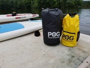 Two POG Dry Bags with Paddle Board