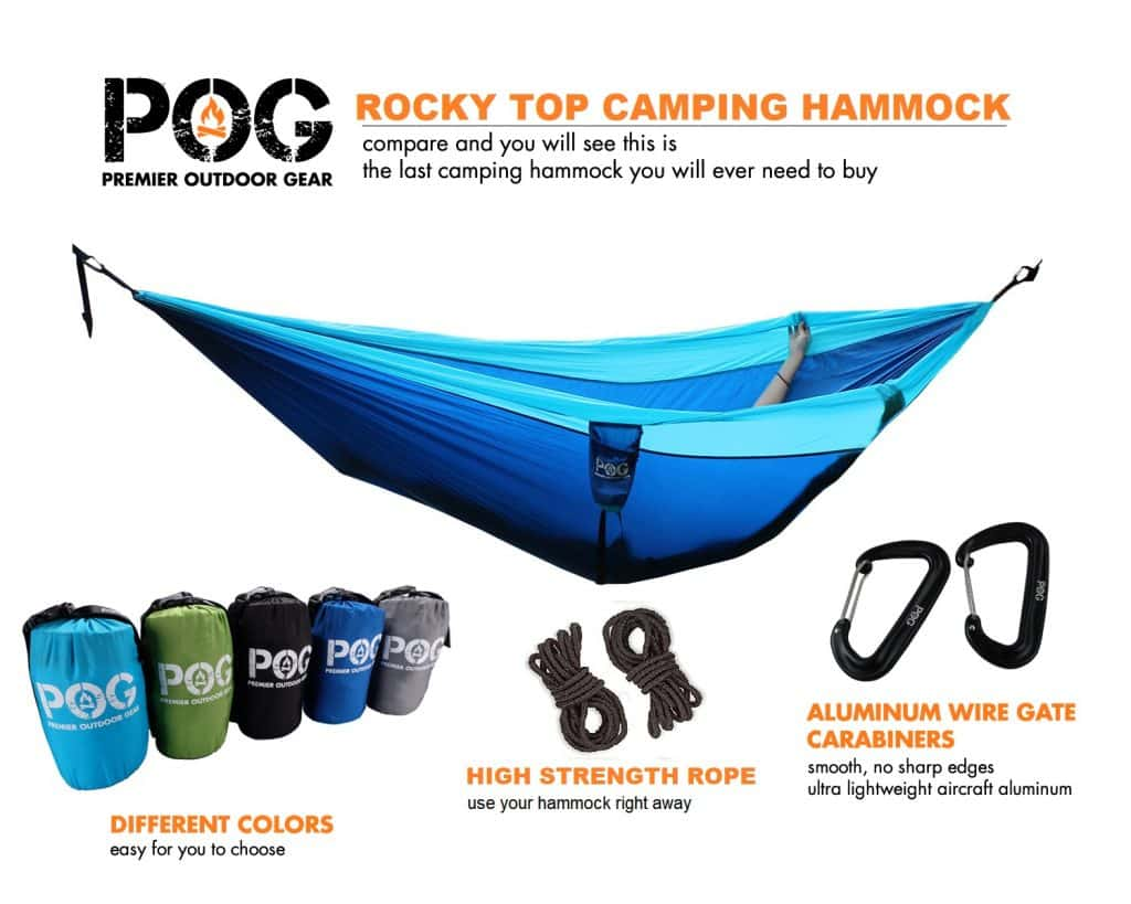 Rocky Top Best Double Camping Hammock Set with carrying bag, ropes and aluminum wire gate carabiners